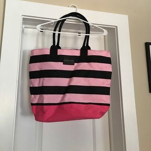 VS Black and pink striped beach bag