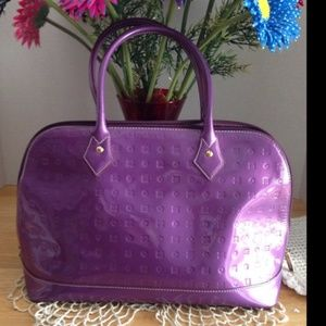 ARCADIA Patent Purple Leather Satchel