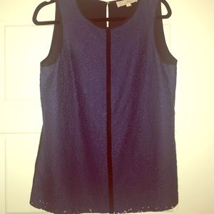 Ann Taylor Navy Lace Sleeveless Blouse