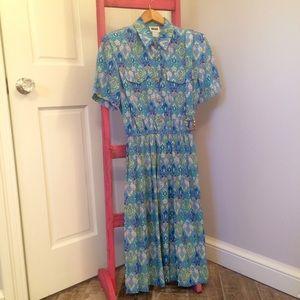 Vintage Leslie Fay Paisley Print  Dress
