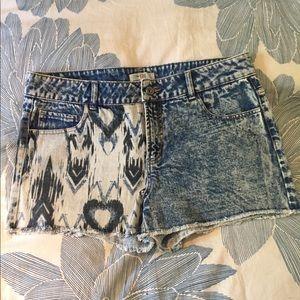 Nordstrom Love Fire half ikat denim shorts