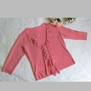 NYC salmon pink ruffle front cardigan soft 3/4