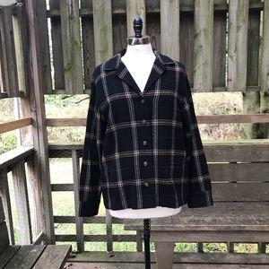 Ralph Lauren black plaid wool elbow patch shirt