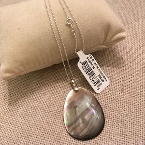 NWT Sterling Silver Bead Necklace Mother of Pearl