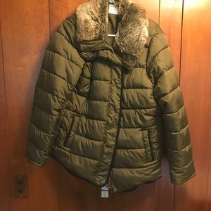 Olive Old Navy Jacket with Faux Fur Collar Size 1X