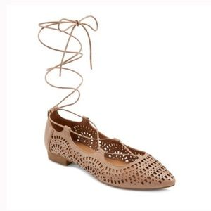 NWT Feliza Tan Lace Up Ballet Flats Mossimo Supply