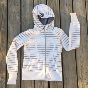 Lululemon Cream Striped Scuba Hoodie