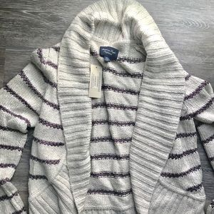 American Eagle Purple Striped Cardigan Sweater