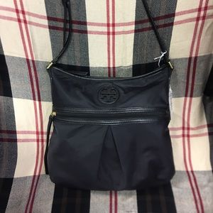 TORY BURCH black microfiber handbag in great shape