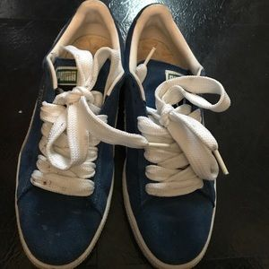 Blue suede puma sneakers