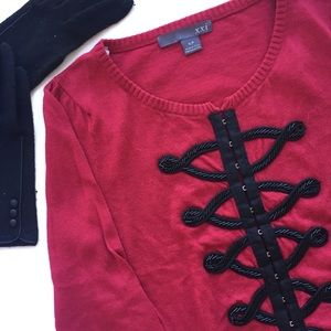 🆕 | 𝐅𝟐𝟏 | Wine Red Cardigan w Black Embroidery