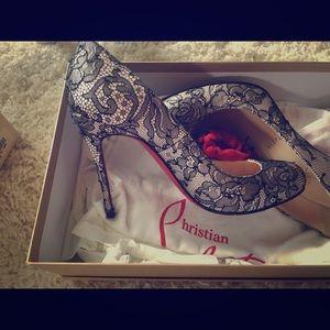 Christian Louboutin satin lace heels