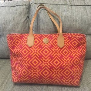 Tory Burch Clubhouse pink orange tote bag