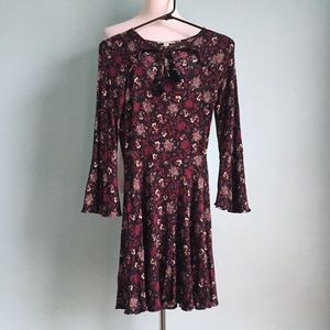AEO Black and Burgundy Floral Dress