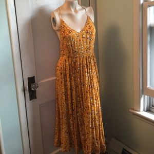 Mustard yellow floral halter dress