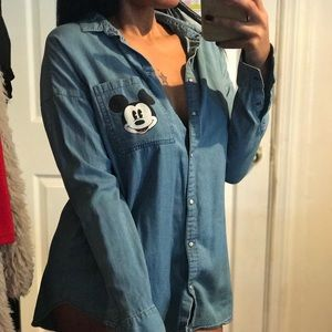 Oversized mickey Mouse Jean button up