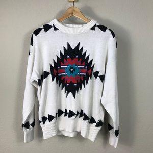 Vintage 90s Miller white cotton Aztec sweater