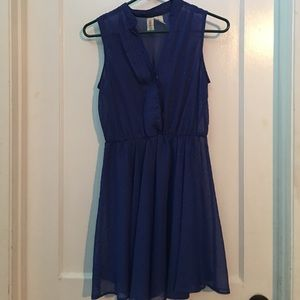 Midnight Blue Dress with Gold Accent Pattern