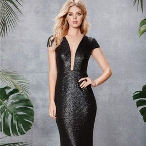 Plunge Neck Sequin Illusion Gown