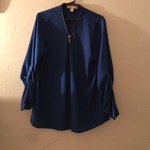 Michael Kors Blue zip down blouse