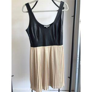 BB Dakota black leather and blush silk dress