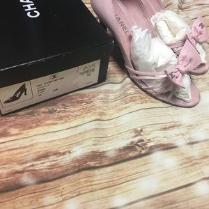 CHANEL PINK BOW SHOES 9