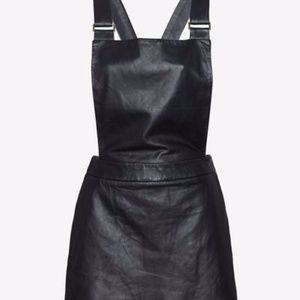 NWOT Intermix Love Leather Overall Mini Dress