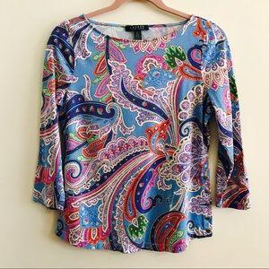Ralph Lauren paisley 3/4 blouse