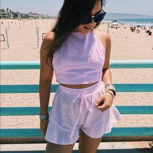 BNWT pink gingham ruffled shorts