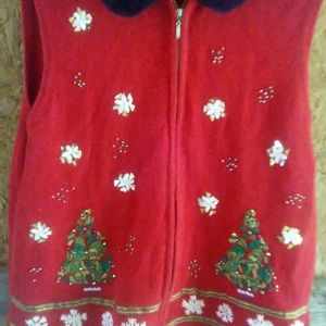 Womens Christmas Vest Embellished XL Zippered