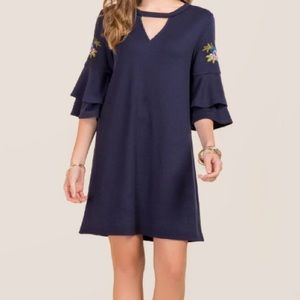 Navy Embroidered Ruffle Sleeve Dress
