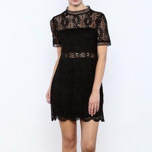 Mink Pink Tell Tale Black Lace Dress