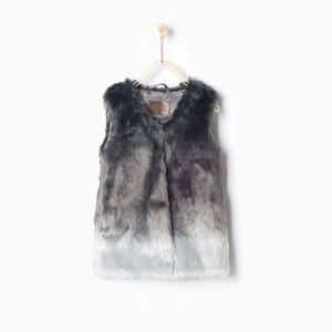 Zara Girls Faux Fur Ombré Gray Silver Winter Vest