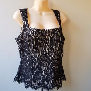 WHBM Women's Black Lace Overlay Blouse