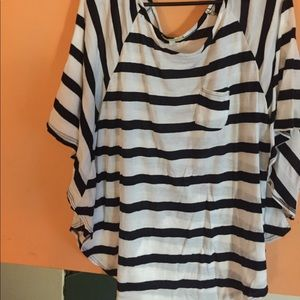 Stripped cape/tunic pullover