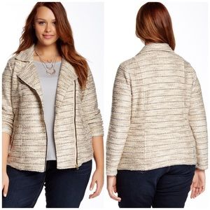 Lucky Brand Plus Size Moto Marled Sweater Jacket