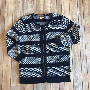 Merona | Navy Tribal Crew Neck Cardigan Sweater L