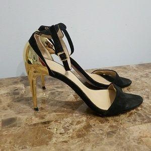Black and gold Zara heels