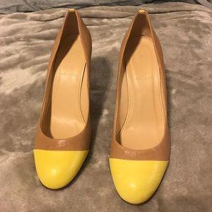 J.Crew neon yellow cap toe heel sz 8