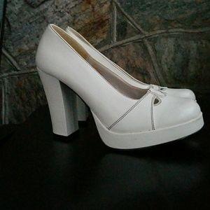 Bongo white platform heels 7