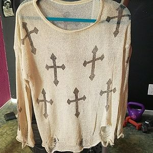 Tops - Gold Shear w/ sparkles if gold blk crosses