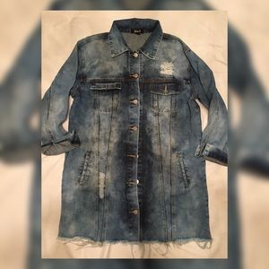 Oversized Distressed Jeans Dress Small or Medium