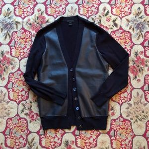 J. Crew Collection Navy Wool & Leather Cardigan