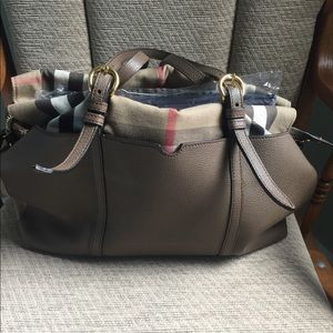 Burberry leather diaper bag