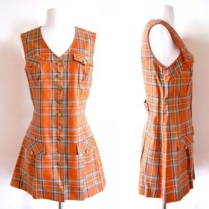 1960s plaid micro mini dress 🍁 retro 60s tartan
