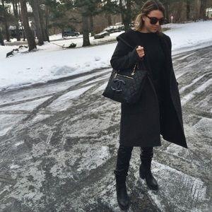 Grey wool coat with hood