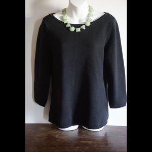 Talbots 3/4 sleeve scoop neck knit sweater