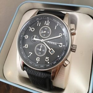 Fossil men's black leather strap watch NIBWT