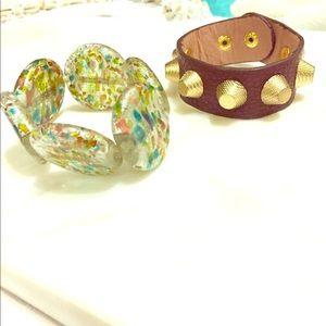 2 bracelets bundle&Save! Glass blown&brown leather