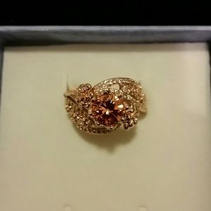 Jewelry - 18k Rose Gold plated with Champagne CZ Ring